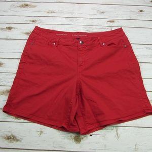 Lane Bryant Girlfriend Red Denim Jean Shorts 18